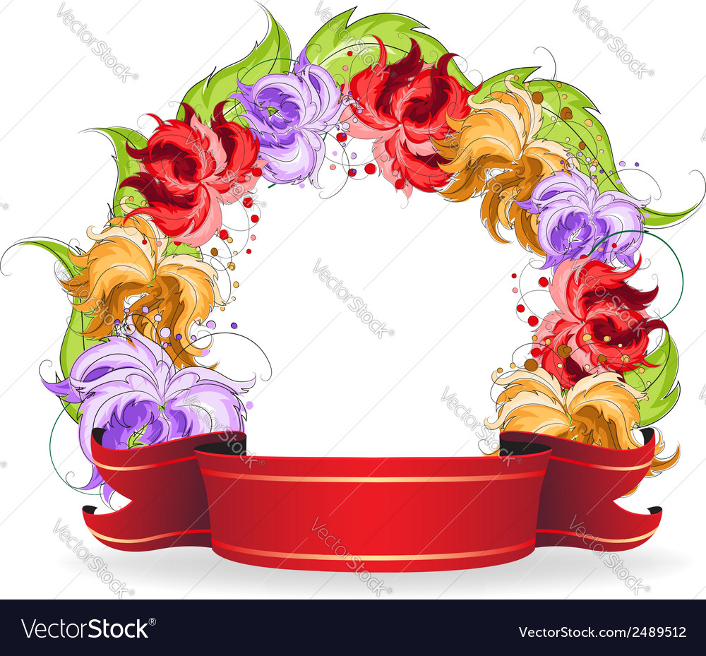 Flowers and ribbon vector | Price: 1 Credit (USD $1)