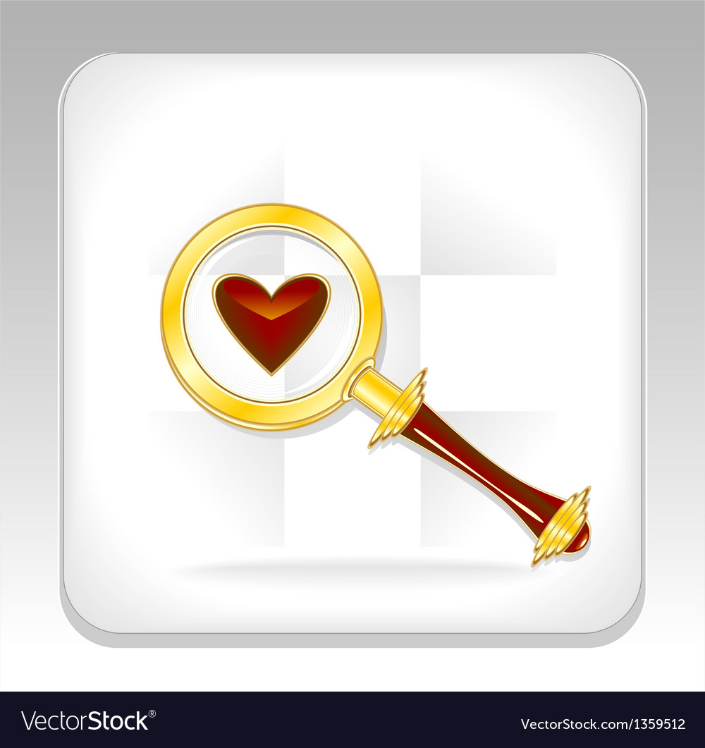 Gold magnifier icon or button with heart vector | Price: 3 Credit (USD $3)
