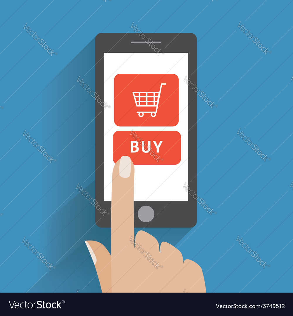 Hand holing smart phone with buy button on the vector | Price: 1 Credit (USD $1)