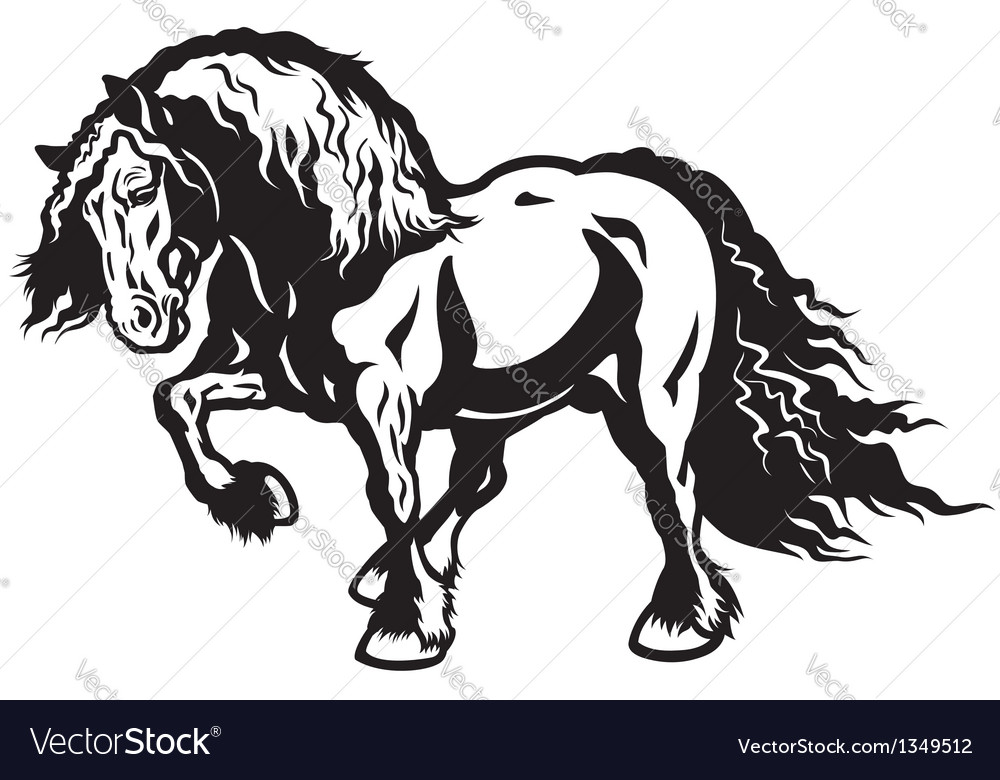 Heavy horse black white vector | Price: 1 Credit (USD $1)