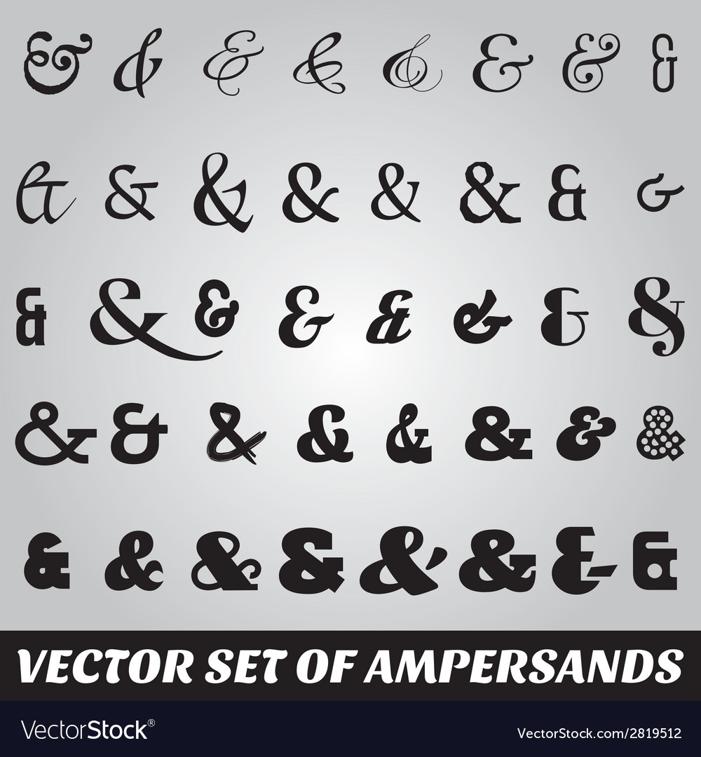 Set of ampersands from different fonts vector | Price: 1 Credit (USD $1)