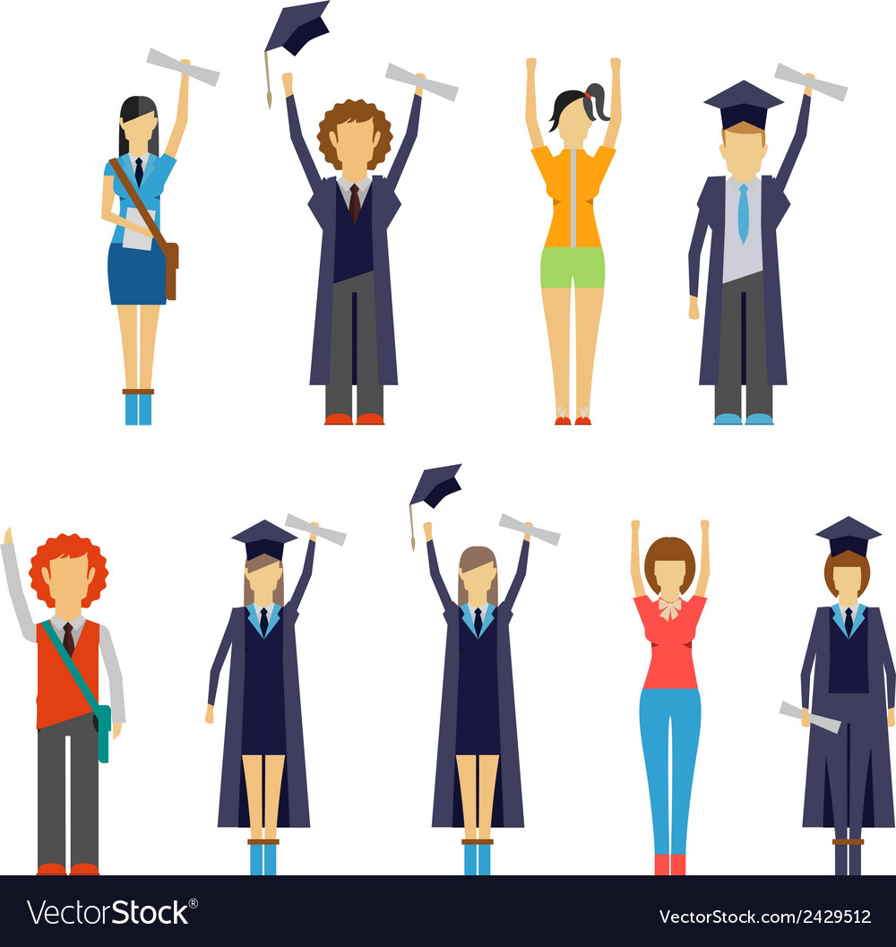 Set of cheering students and graduates vector | Price: 1 Credit (USD $1)