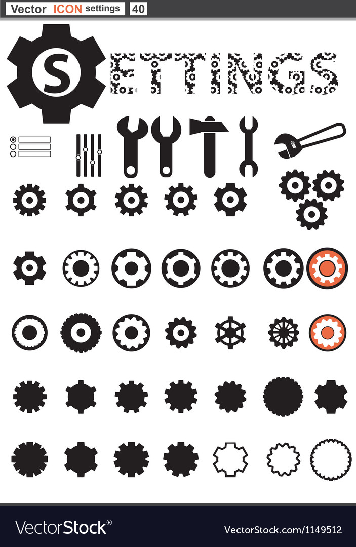 Set web icons settings cogwheel vector | Price: 1 Credit (USD $1)