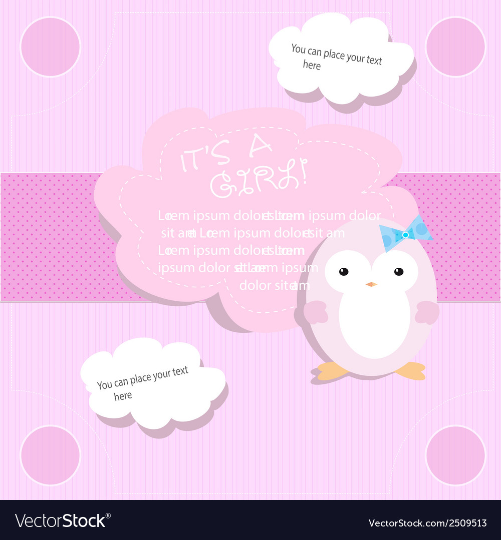 Baby shower for girl in pink tones with penguin vector   Price: 1 Credit (USD $1)