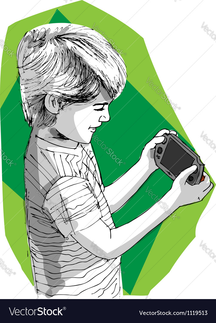 Boy playing game console vector | Price: 1 Credit (USD $1)