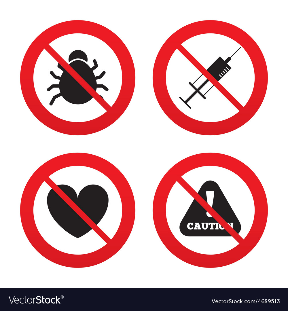 Bug and vaccine signs heart spray can icons vector | Price: 1 Credit (USD $1)