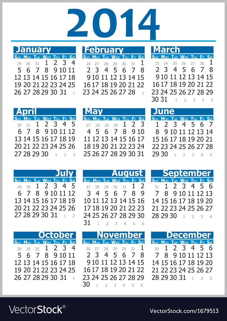 Calendar 2014 002 vector | Price: 1 Credit (USD $1)