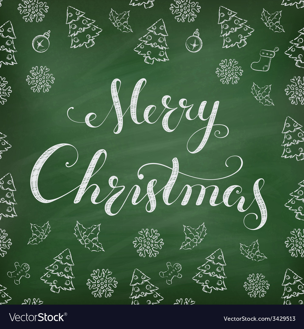 Christmas chalkboard with lettering vector | Price: 1 Credit (USD $1)