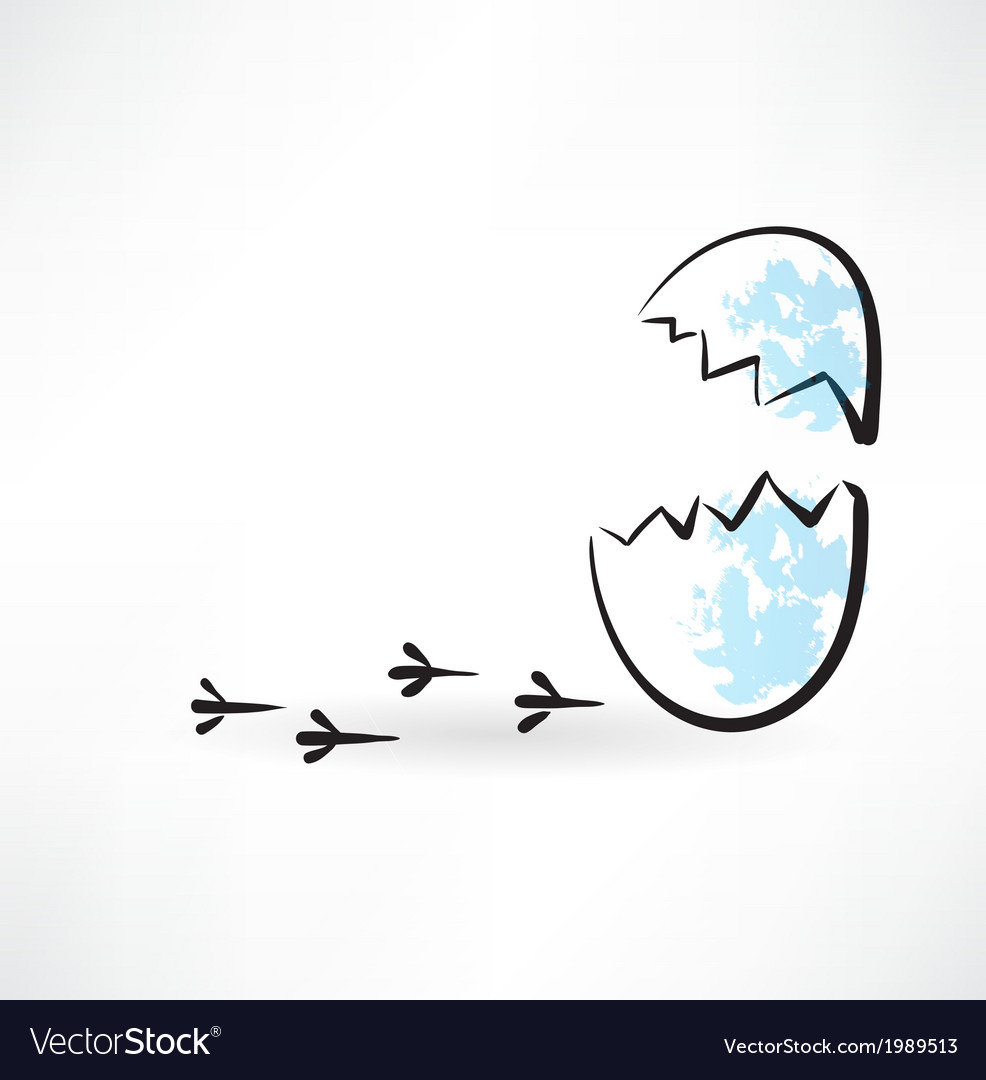 Cracked egg grunge icon vector | Price: 1 Credit (USD $1)