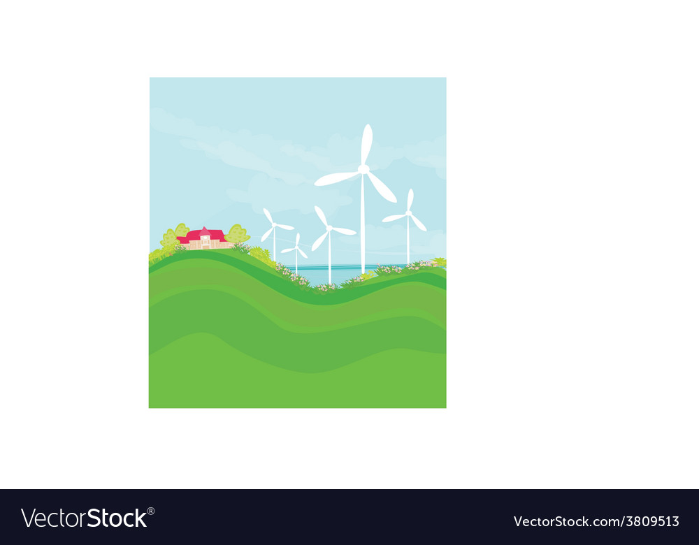 Ecology background with turbine and sky vector | Price: 1 Credit (USD $1)