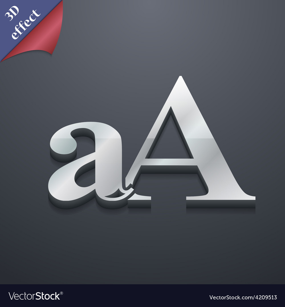 Enlarge font aa icon symbol 3d style trendy modern vector | Price: 1 Credit (USD $1)