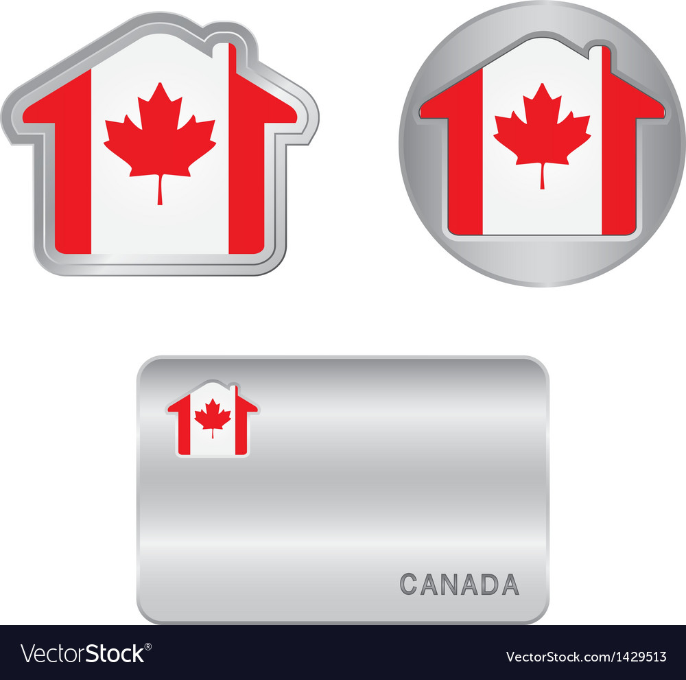 Home icon on the canada flag vector | Price: 1 Credit (USD $1)