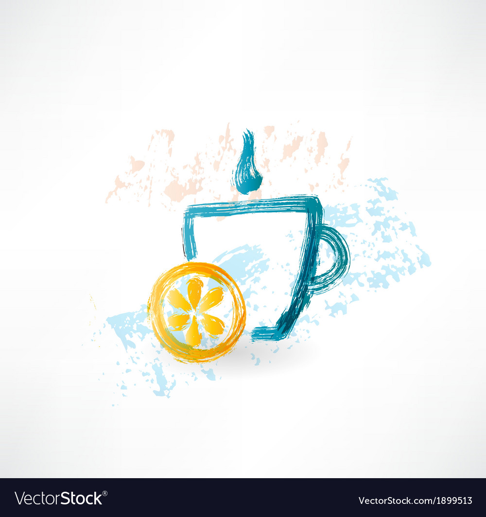 Lemon tea grunge icon vector | Price: 1 Credit (USD $1)