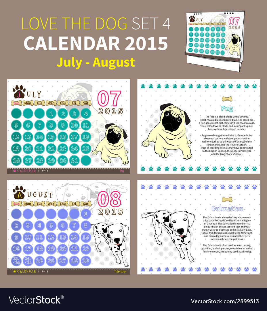 Love the dog calendar 2015 set 4 vector | Price: 1 Credit (USD $1)