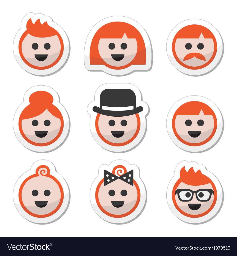 People with ginger hair icons set vector | Price: 1 Credit (USD $1)