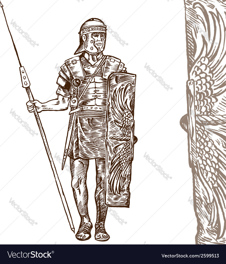 Roman warrior hand draw vector | Price: 1 Credit (USD $1)