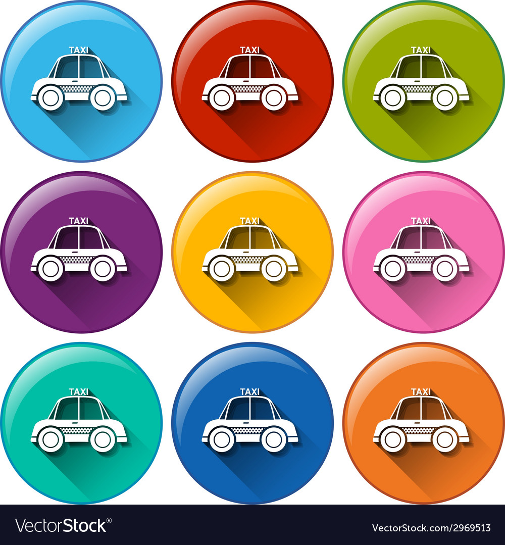 Round buttons with a taxi vector | Price: 1 Credit (USD $1)