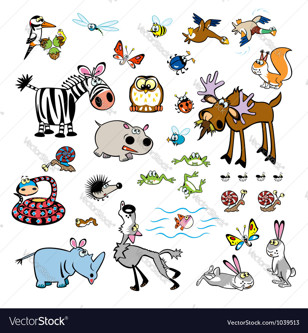 Set of childish wild animals vector | Price: 1 Credit (USD $1)