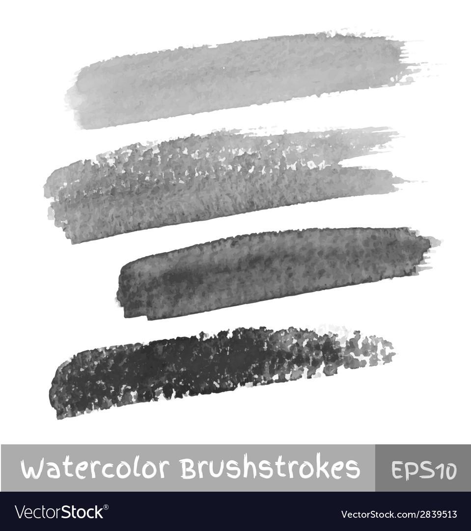 Set of gray watercolor brush strokes vector | Price: 1 Credit (USD $1)