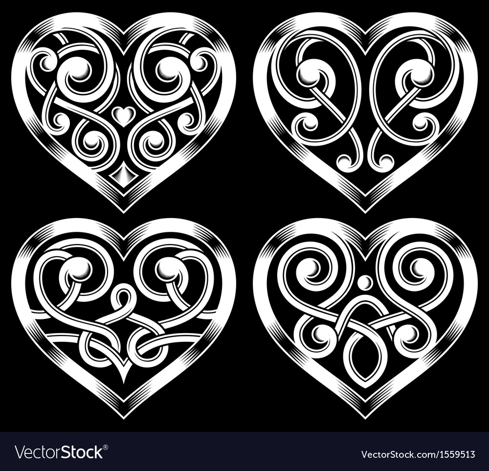 Set of ornate heart shape vector | Price: 1 Credit (USD $1)