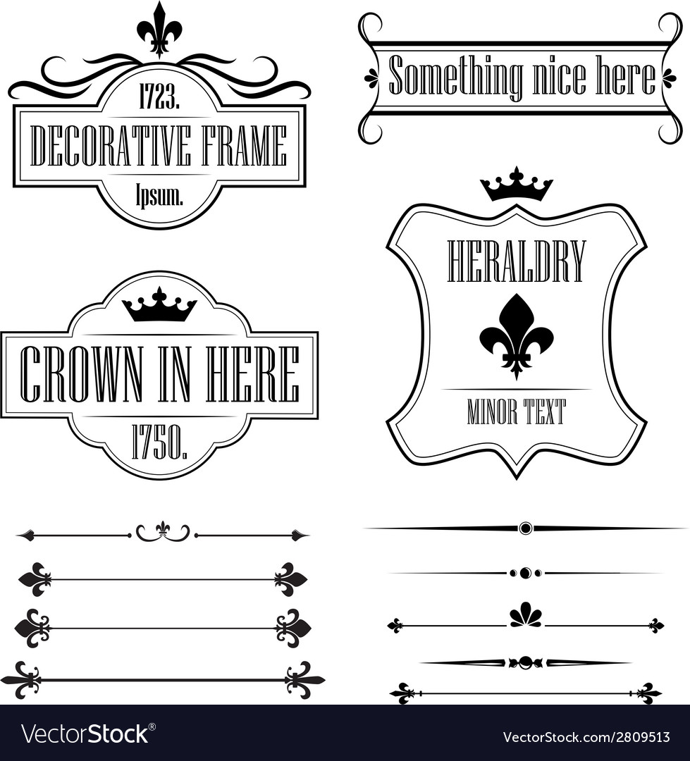 Set of vintage frames borders and deviders vector   Price: 1 Credit (USD $1)