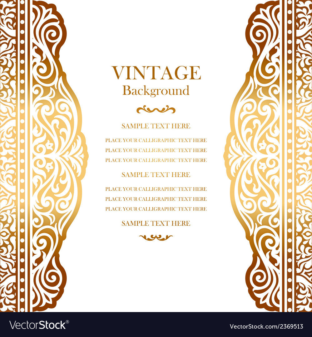 Wedding gold card with lace pattern vector | Price: 1 Credit (USD $1)