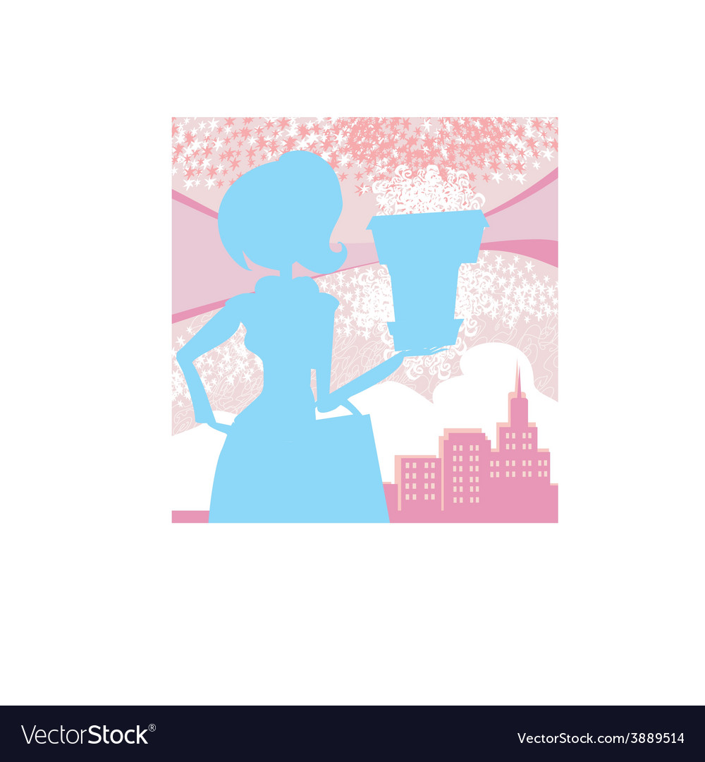 Fashion girl shoppingpink and blue abstract vector | Price: 1 Credit (USD $1)