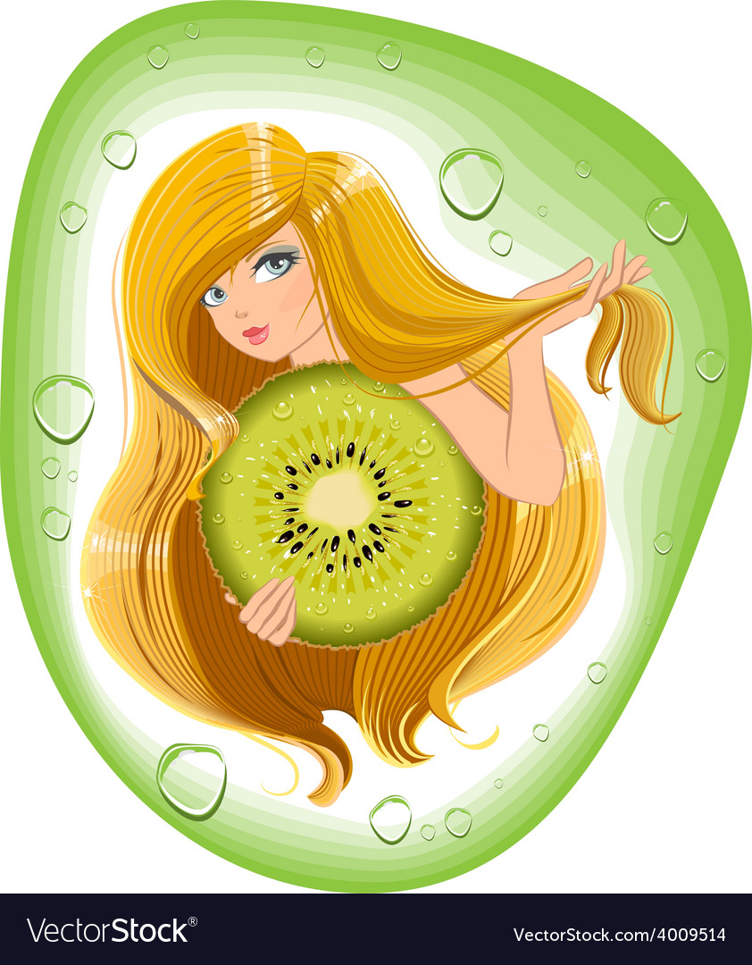 Girl with long hair holds an kiwi fruit template vector | Price: 1 Credit (USD $1)
