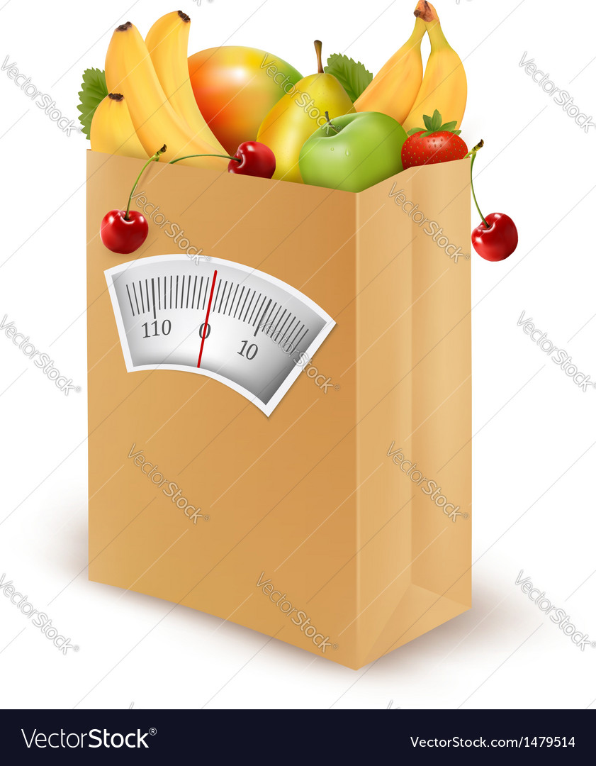 Healthy diet fresh food in a paper bag vector | Price: 3 Credit (USD $3)