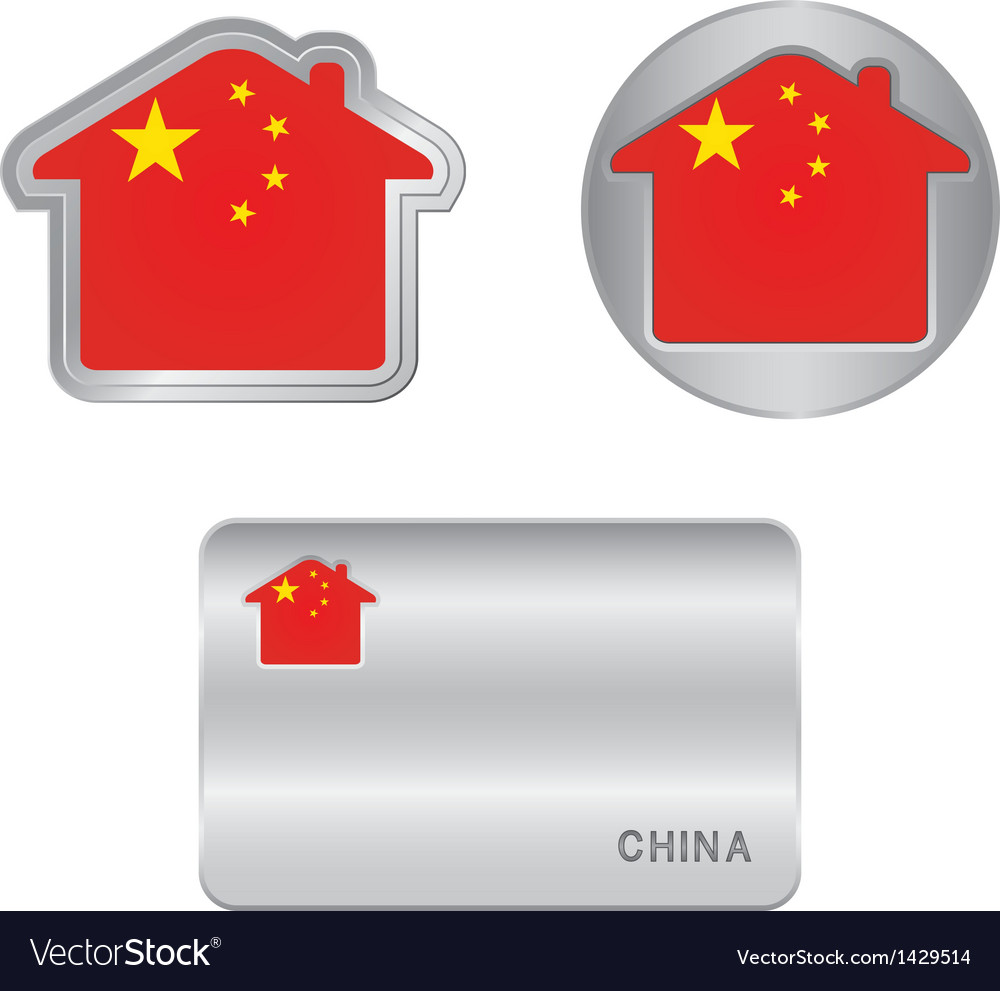 Home icon on the china flag vector | Price: 1 Credit (USD $1)