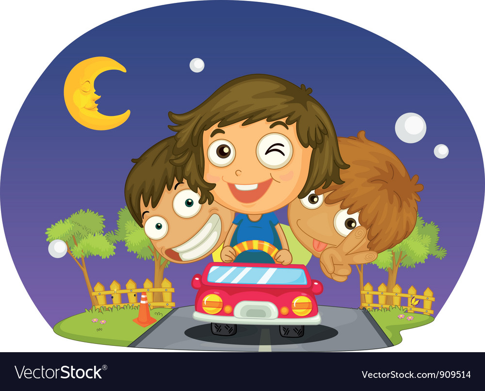 Kids driving vector | Price: 3 Credit (USD $3)