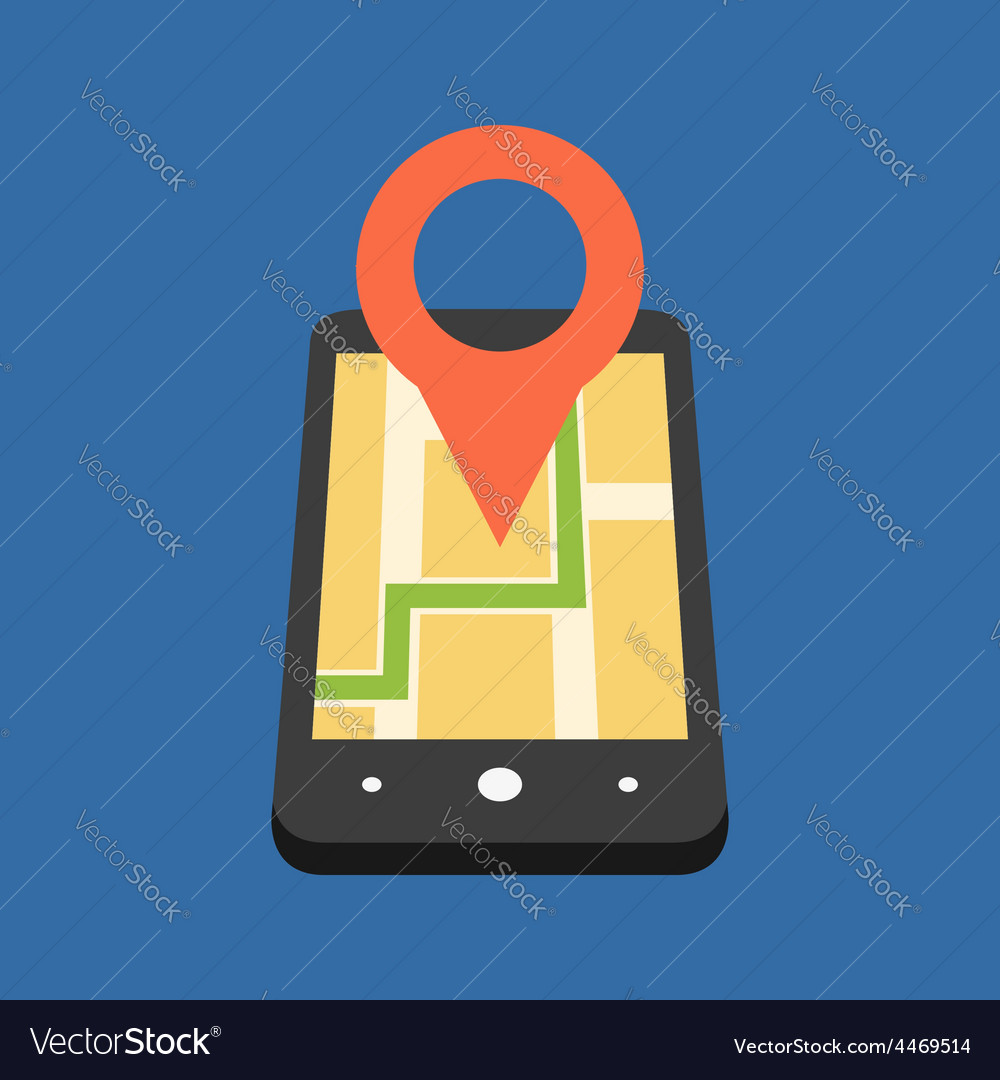 Mobile gps navigation concept flat design isolated vector | Price: 1 Credit (USD $1)