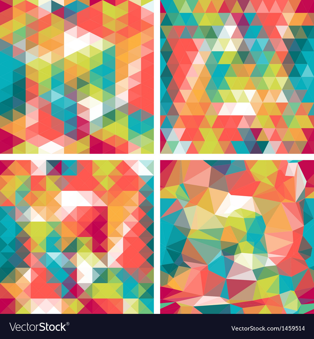 Seamless triangle patterns in retro style vector | Price: 1 Credit (USD $1)