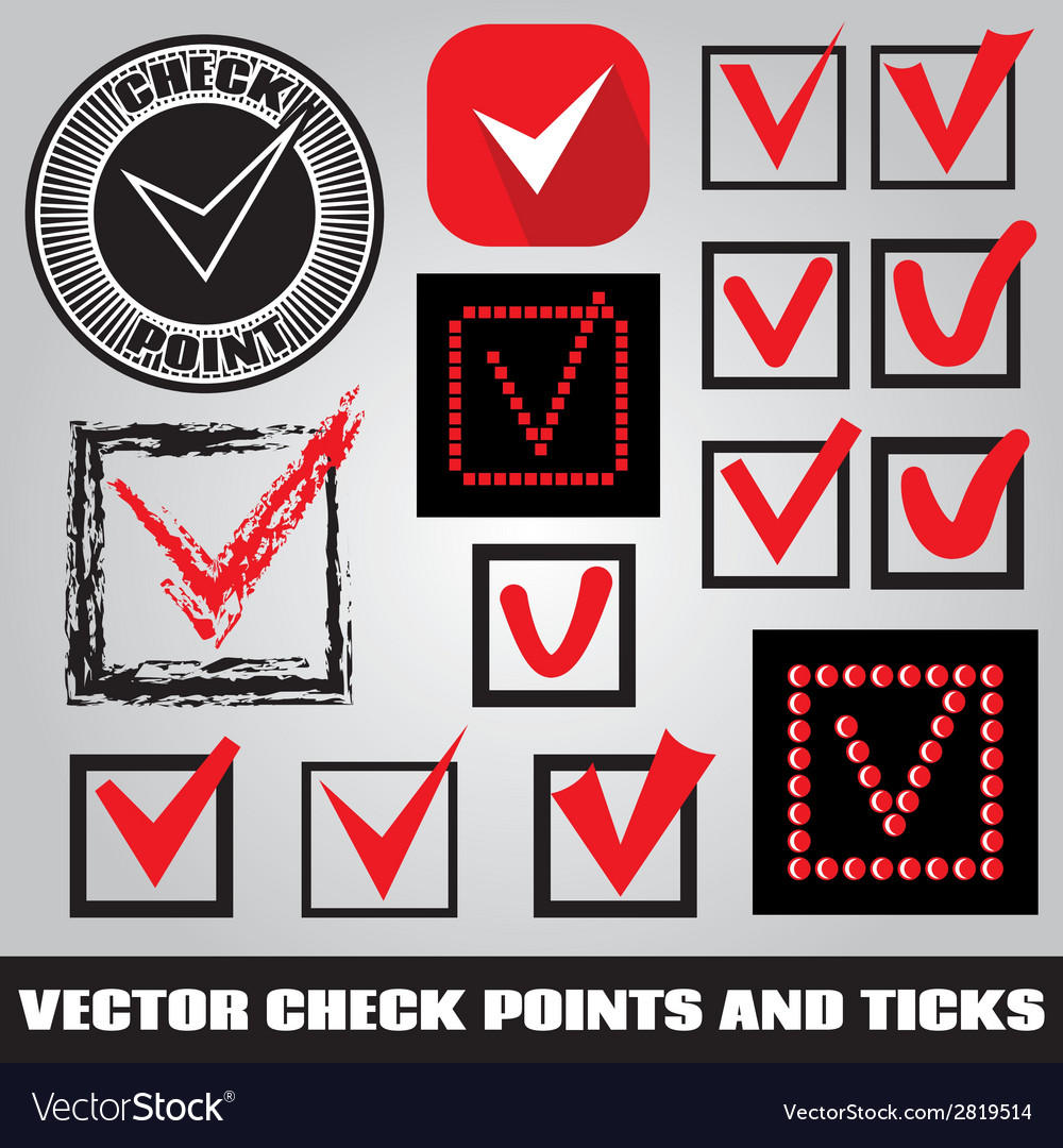 Set of check points and ticks vector | Price: 1 Credit (USD $1)