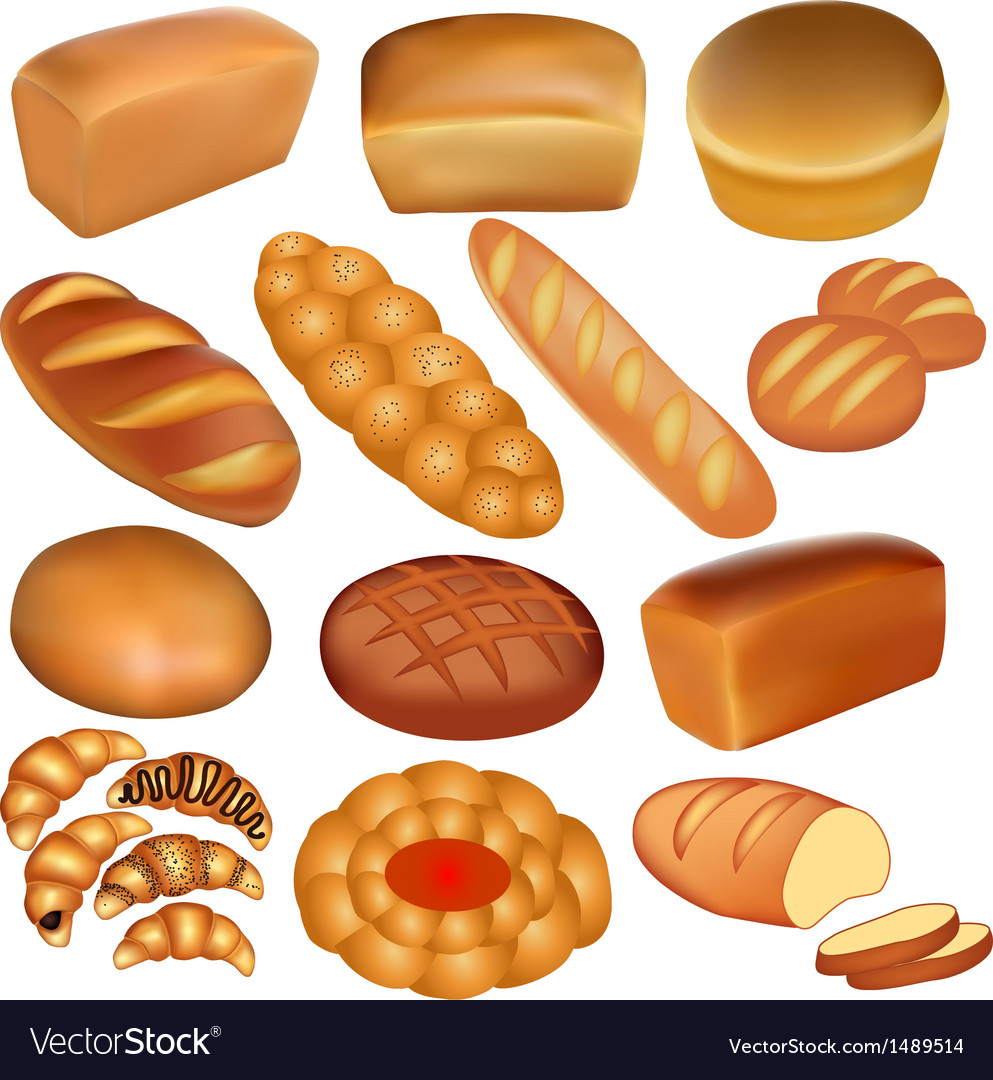 Set of loaves of bread vector