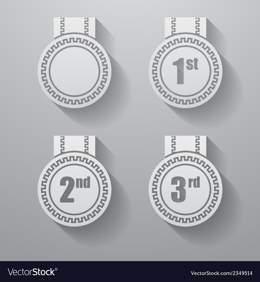 Set of paper badges with ribbons set of paper vector | Price: 1 Credit (USD $1)