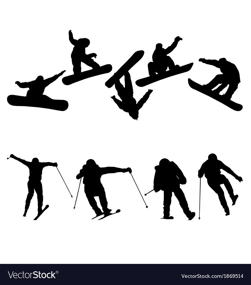 Snowboard and ski jumpers vector | Price: 1 Credit (USD $1)