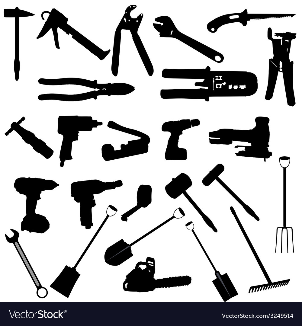 Tools silhouette vector | Price: 1 Credit (USD $1)
