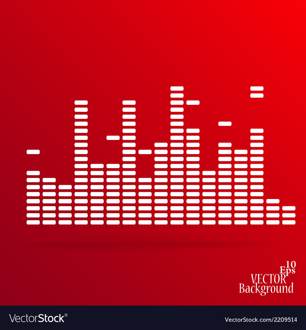 White digital equalizer background on red vector | Price: 1 Credit (USD $1)