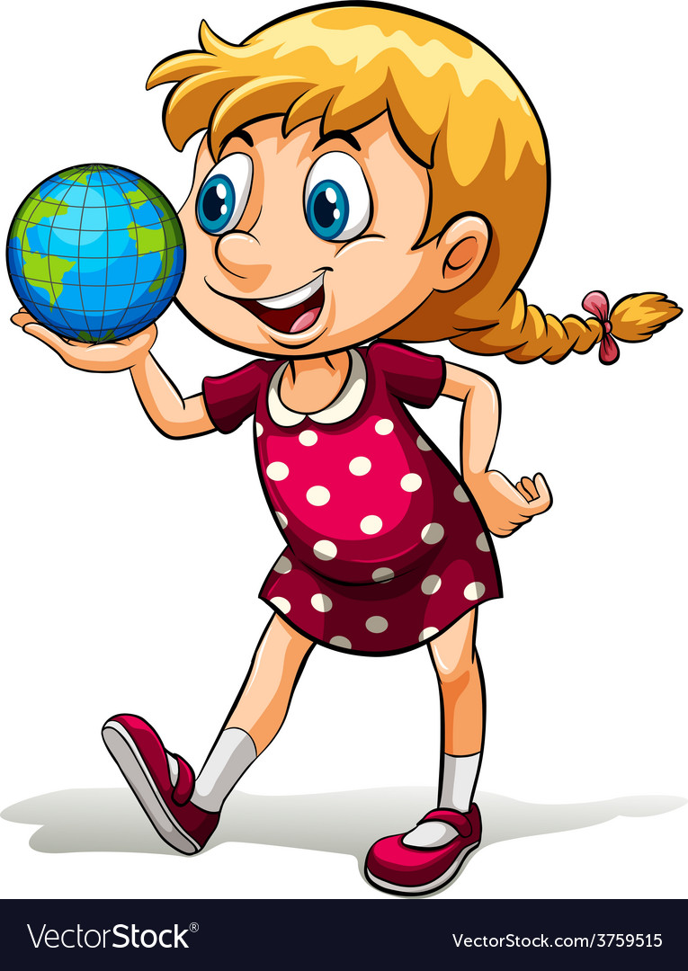 A young girl holding a globe vector   Price: 1 Credit (USD $1)