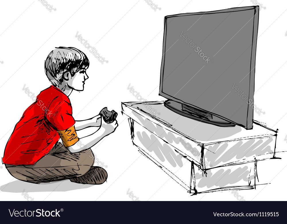Boy playing computer game vector | Price: 1 Credit (USD $1)