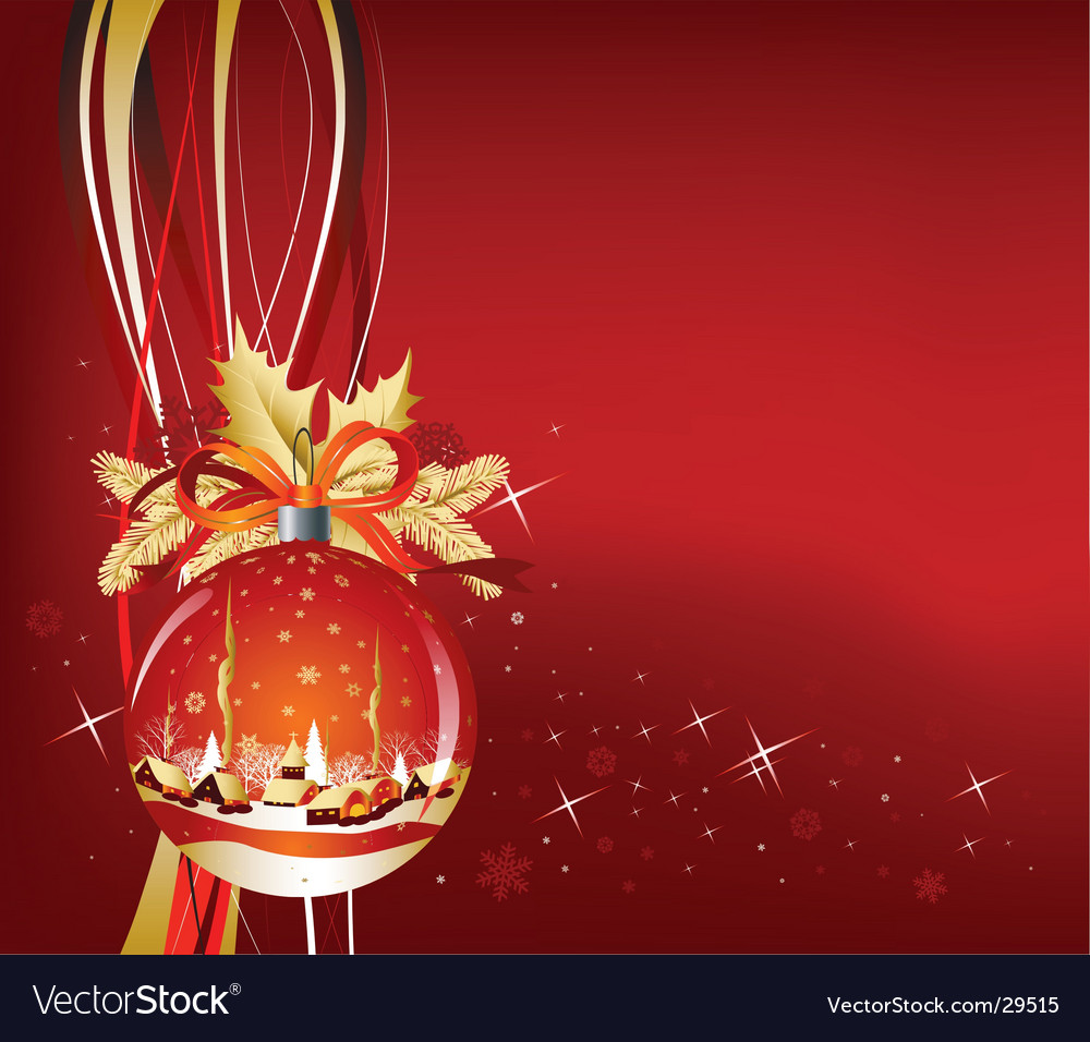 Christmas ball in red color vector | Price: 3 Credit (USD $3)