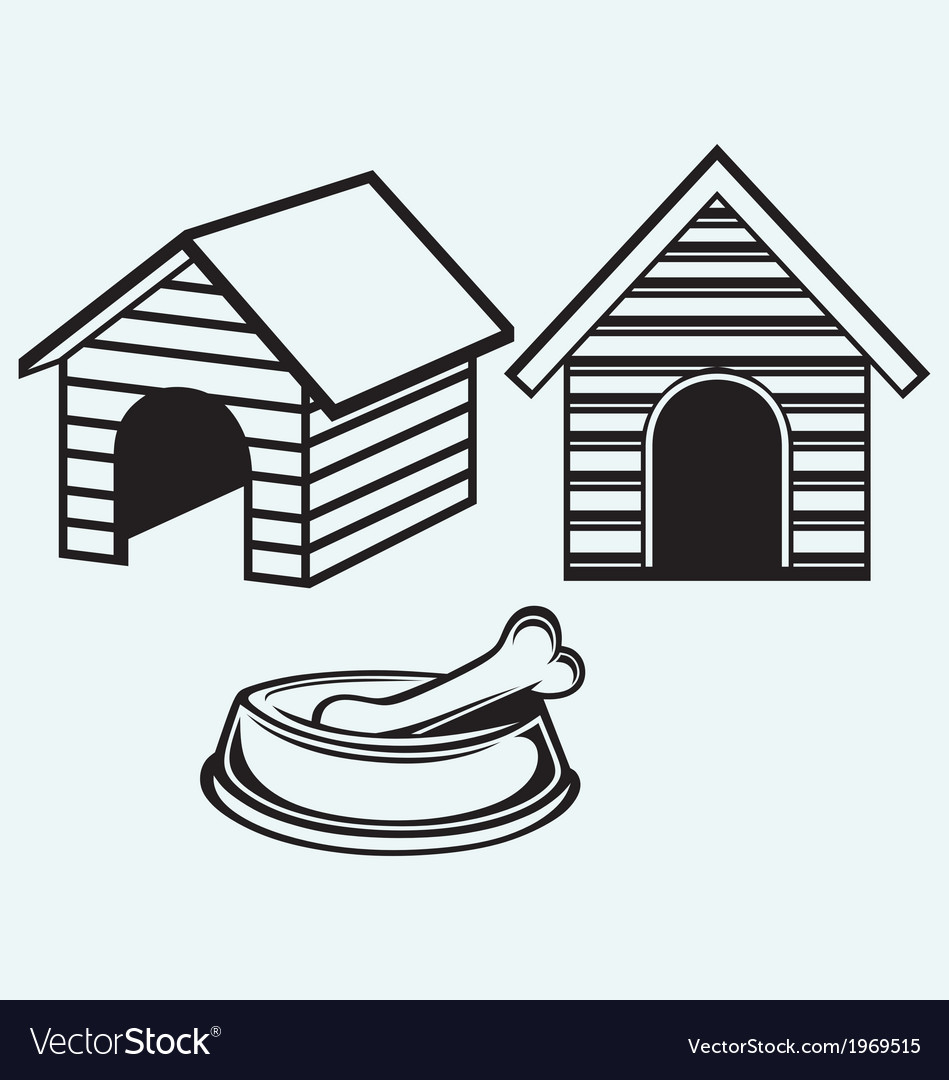 Dog bowl with bone dog house vector | Price: 1 Credit (USD $1)