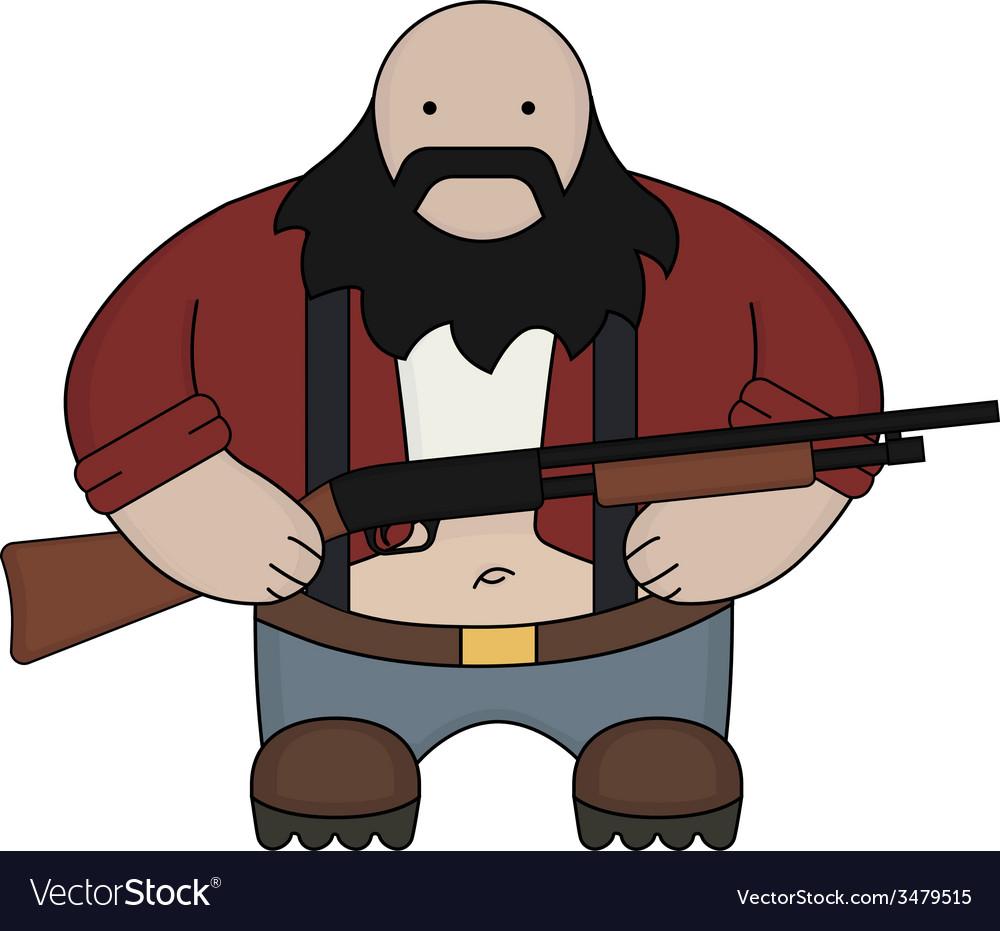 Fat redneck with shotgun vector | Price: 1 Credit (USD $1)