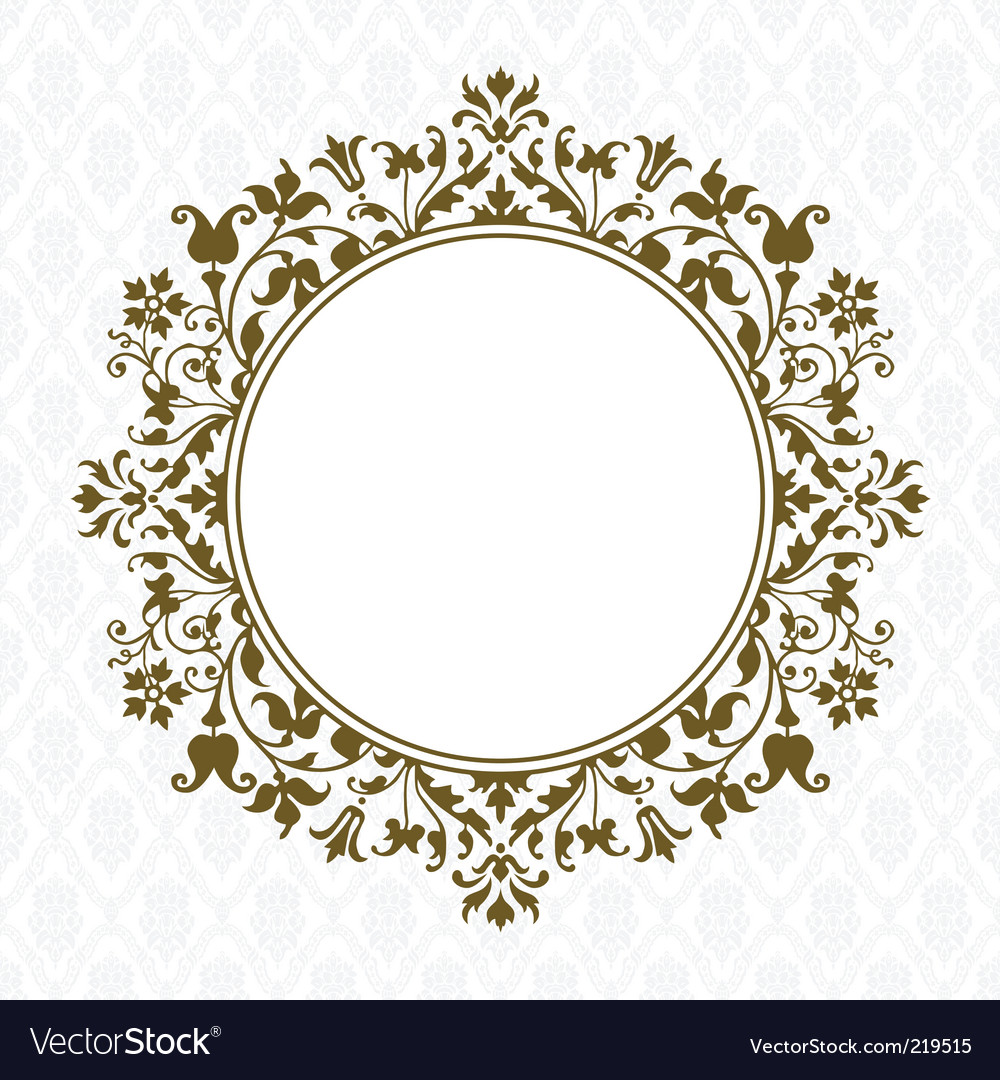 Gold round floral frame vector | Price: 1 Credit (USD $1)