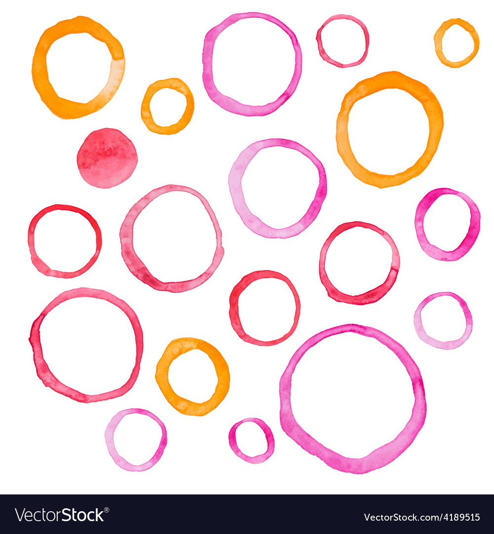 Hand draw watercolor rings circle round stains art vector | Price: 1 Credit (USD $1)