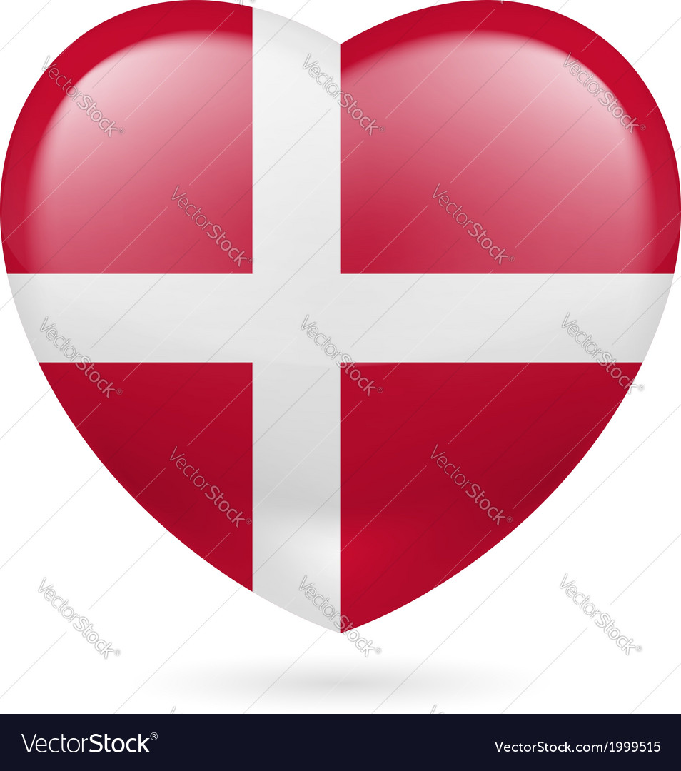 Heart icon of denmark vector | Price: 1 Credit (USD $1)