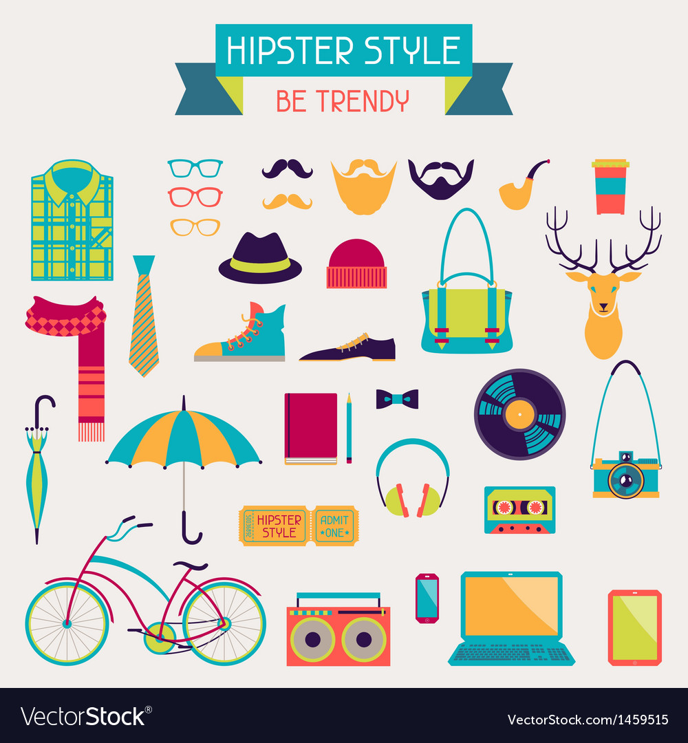 Hipster style elements and icons set for retro vector | Price: 1 Credit (USD $1)