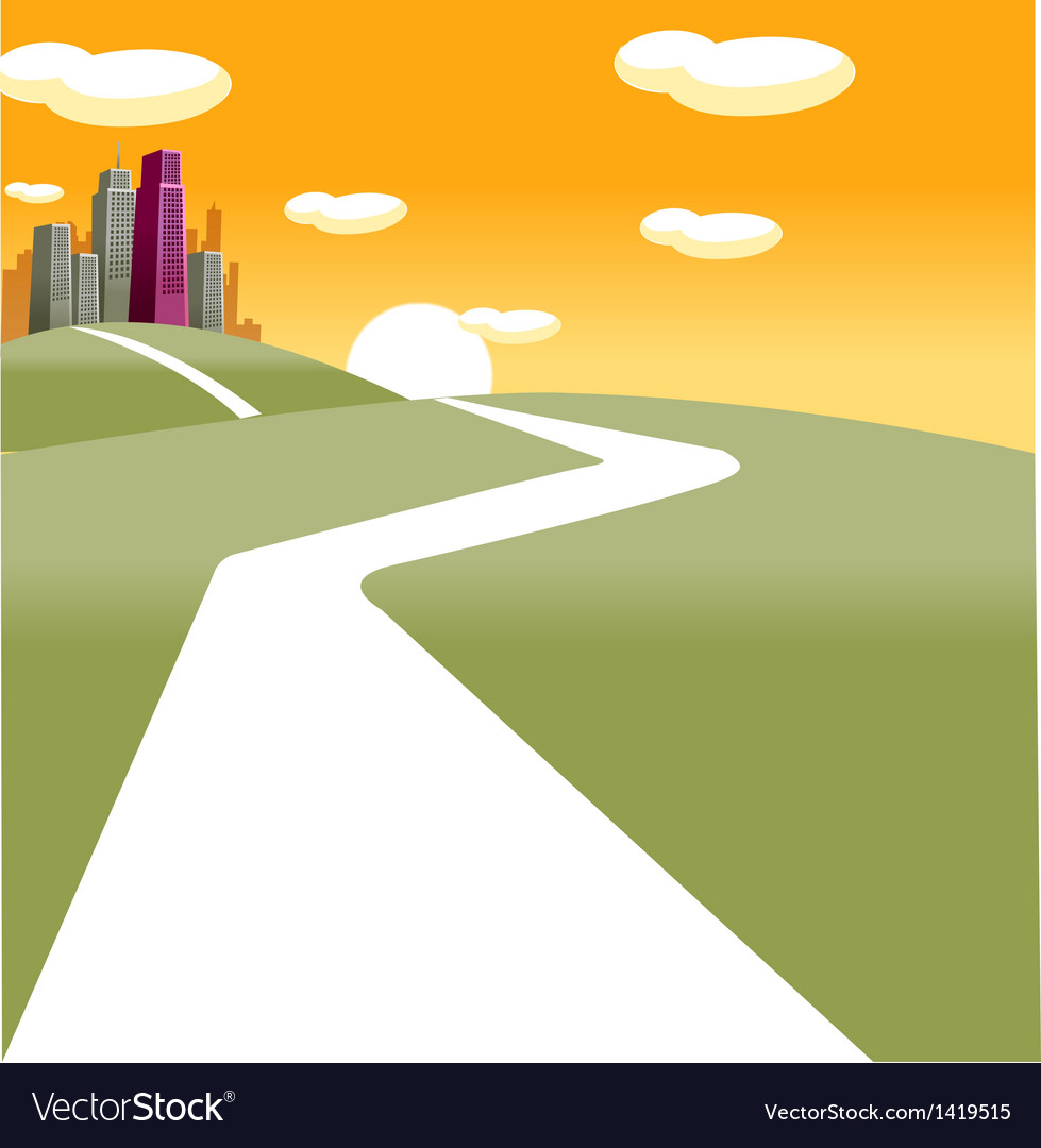 Path towards city vector | Price: 1 Credit (USD $1)