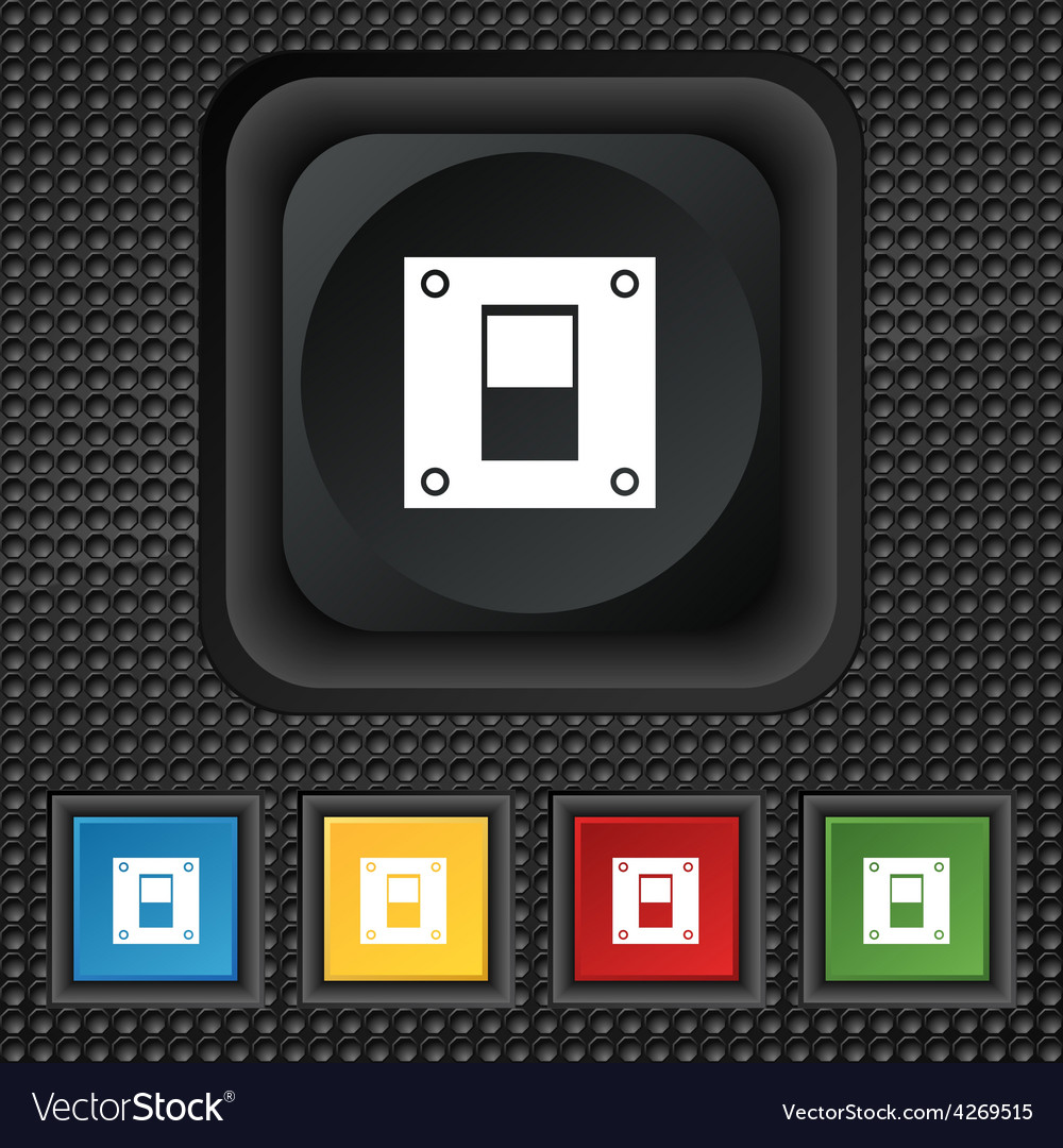Power switch icon sign symbol squared colourful vector | Price: 1 Credit (USD $1)